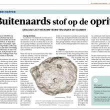Flore thesis on micrometeorites published in Flemish Thesis journal Summer edition