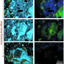 Plane-polarized light microphotographs and optical cathodoluminescence of impactites from the El'gygytgyn impact structure, Russia. After Pittarello et al. 2015.